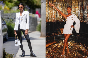 jasmine tookes wearing a white blazer and one sleeve white dress styled by cary robinson