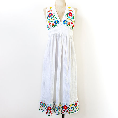 WHITE EMBROIDERED MEXICANA DRESS