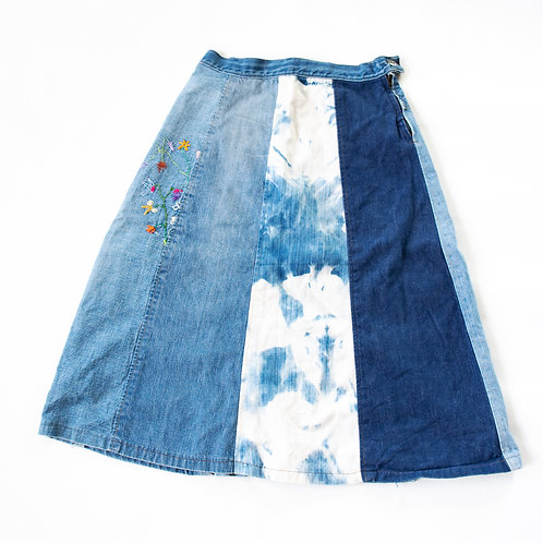 70s PATCHWORK DENIM JEAN SKIRT