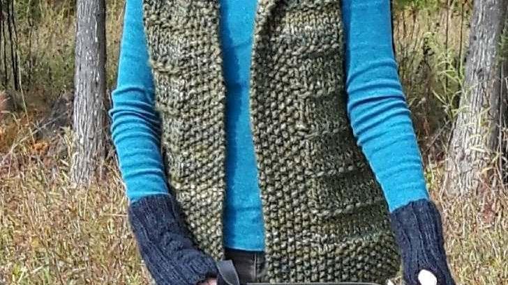 yarn vest kit green
