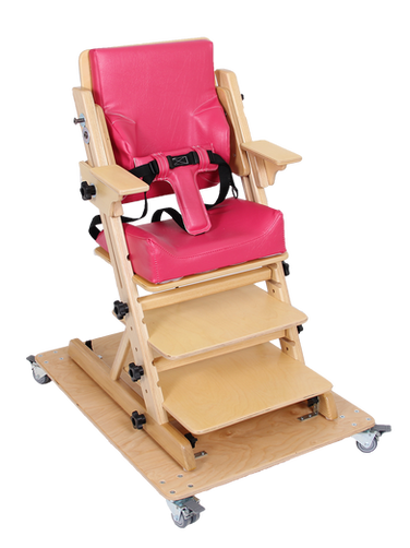 ERGO chair on enlarged base with casters Armrest Additional footrest Contour seat cushion Accentuated back cushion Padded 3-point belt Adjustment handles