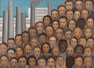 imagem com a representação de várias pessoas e, no fundo, chaminés e prédios industriais.