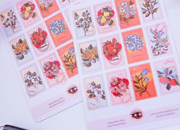 Selos flores e frutos - adesivos