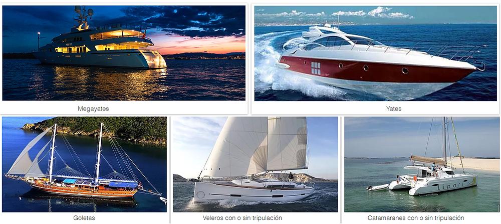 Yates, super yates, veleros, goletas y catamaranes