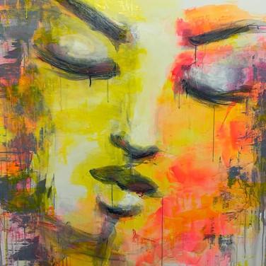"""Feelings open"" | 5'x4' acrylic & graphite on canvas"