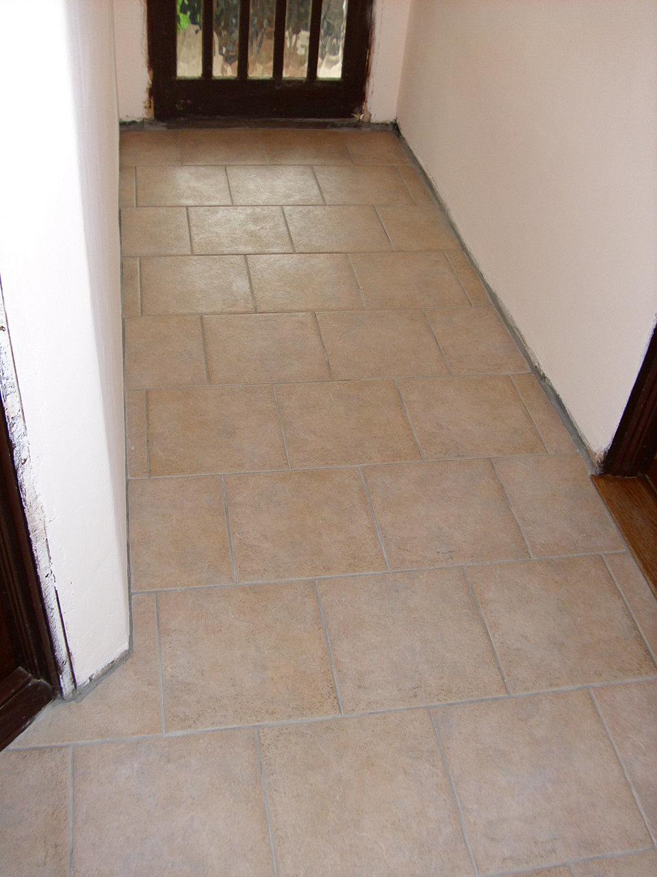 Shaun taylor bathrooms floor tiling outside the bathroom hallway in porcelain travertine effect floor tiles cross bonded dsci0001g dailygadgetfo Images