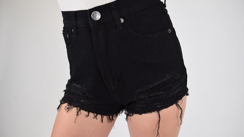 Black Ripped High Waisted Mom Shorts