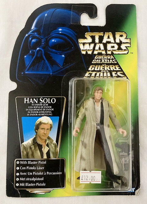 Star Wars The Power Force Han Solo Endor Tri Logo Kenner 1995