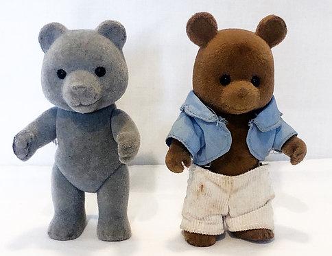 Sylvanians Evergreen Grey Bear And Timbertop Brown Bear Set 1985