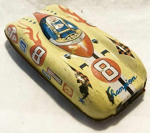 Vintage Tin Litho Yellow Race Car Japan