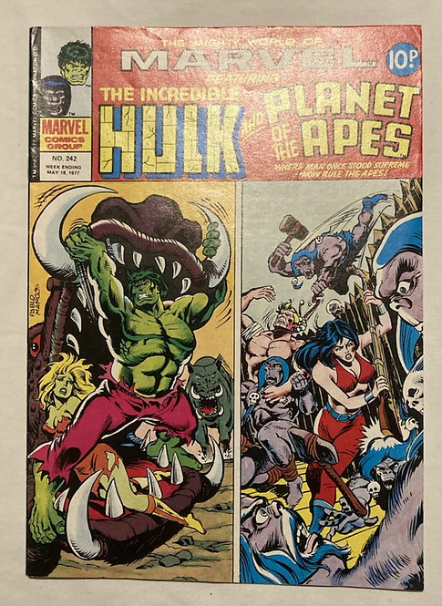Marvel Comics Featuring The Incredible Hulk And Planet Of The Apes #242 May 1977