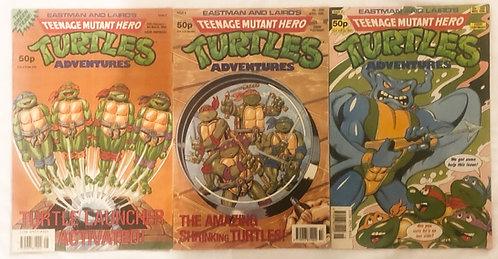 Teenage Mutant Hero Turtles Adventues Issue No. 3 No. 6 No.8  1990