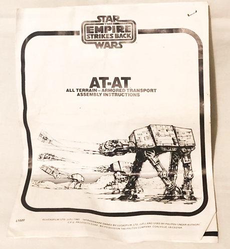 Vintage Star Wars AT-AT instructions kenner 1980