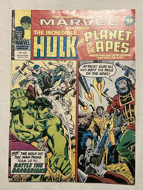 Marvel Comics Featuring The Incredible Hulk And Planet Of The Apes #232 1977