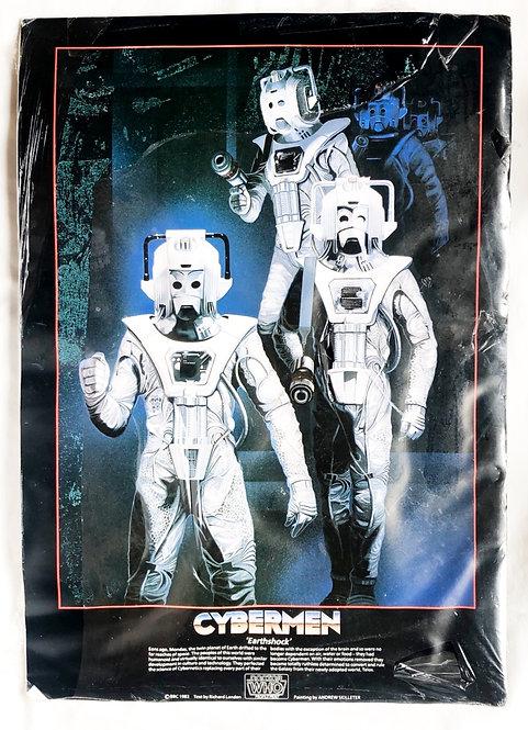 Doctor Who Vintage Cyberman 'Earthshock' Artwork Profile Print 1983