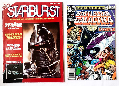 BattleStar Galactica Comic No.2 And Star Burst Magazine No.7 Set
