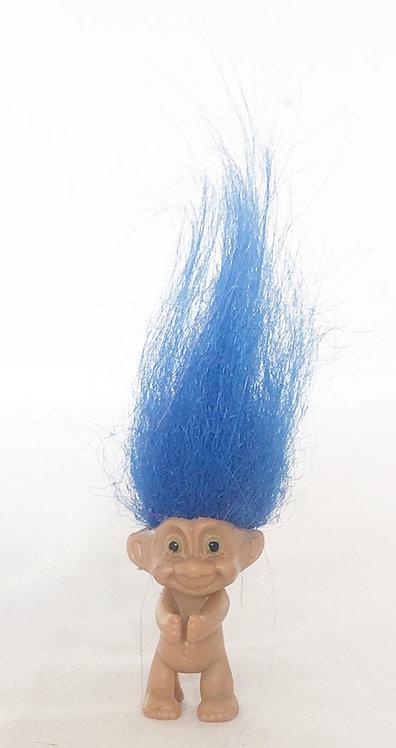 Vintage Mini Troll Fridge Magnet / Pen Topper / Necklace Blue Hair 1989