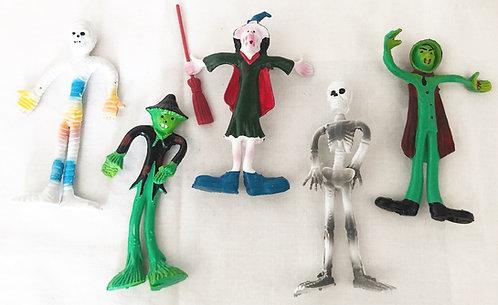 Vintage Halloween Bend'em Toys Set