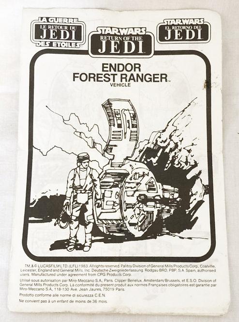 Vintage Star Wars Tri-Logo Endor Forest Ranger Vehicle Instructions 1983