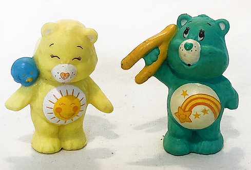 Care Bears Sunshine Bear and Wish Bear Mini Figure Set 1984