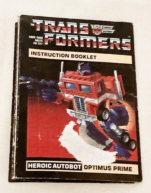 Vintage Transformers G1 Optimus Prime Instructions Takara 1985