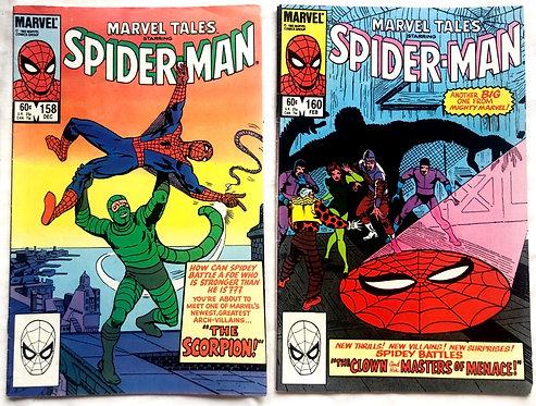 Marvel Tales Starring Spider-man Comic Set  #160 #158 1983