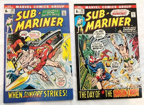 Sub-Mariner Marvel Comic Set #52 #53 1972