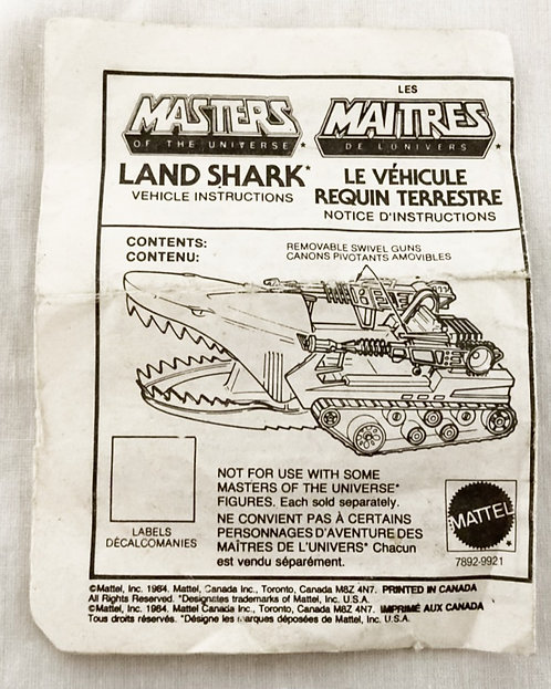 He-Man And The Masters Of The Universe Land Shark Instructions 1984