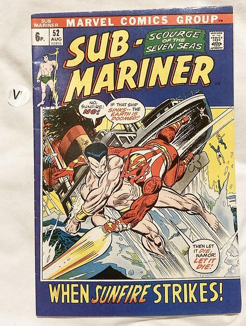 Marvel Sub-Mariner #52 August 1972