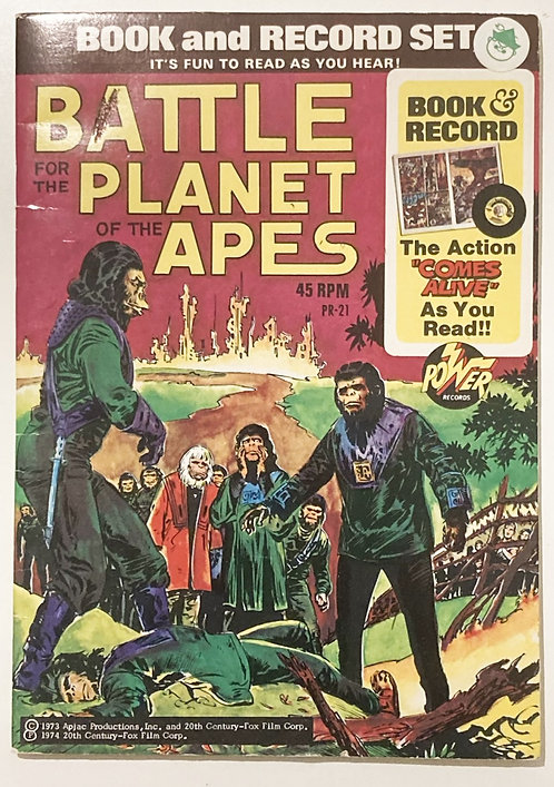 Battle For The  Planet Of The Apes Book And Record Set Power Records 1974