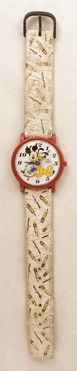 Vintage Walt Disney Mickey And Pluto Watch Lorus Shiojiri ltd Japan 1986 (B)
