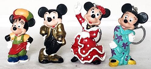Disney Vintage Mickey And Mini Mouse Key Ring PVC Bully
