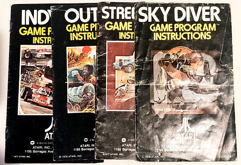 Atari 2600 Instructions Indy 500 Outlaw Street Racer Sky Diver Set