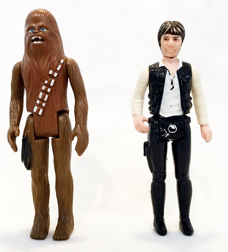 Vintage Star Wars Chewbacca And Han Solo Figure Set Kenner 1977