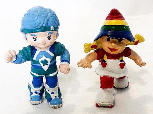 Rainbow Bright Buddy Blue And Rainbow Bright On Skates Mini Figure Set 1983