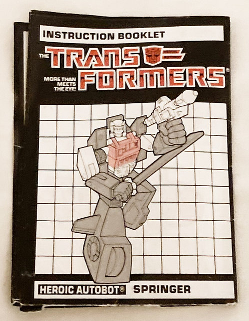 Vintage Transformers G1 Springer Instructions Takara 1985