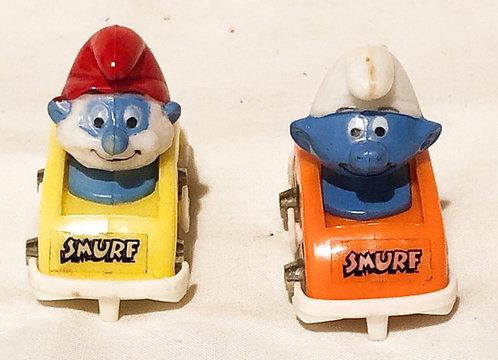 Smurf Car Metal Wheels Set Peyo 1983 (B)