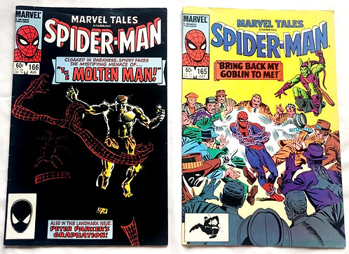 Marvel Tales Starring Spider-man Comic Set  #165 #166 1984
