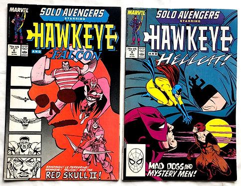 Marvel Solo Avengers Hawkeye Comic Set #6 #9 1988