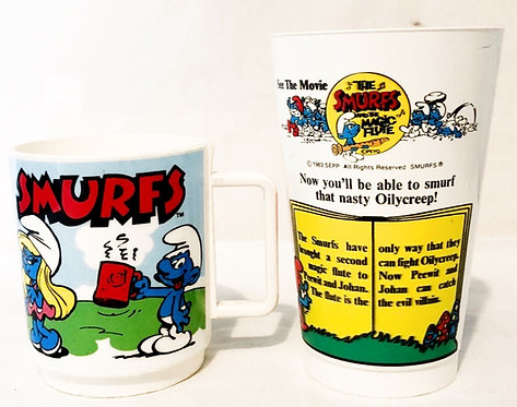 Vintage Smurfs Mug And The Magic Flute Movie Cup Set
