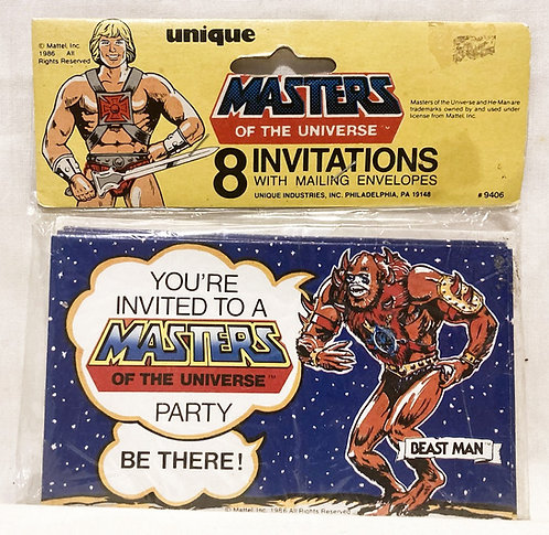 Heman And The Masters Of The Universe 8 invitations Hong Kong Unique 1986