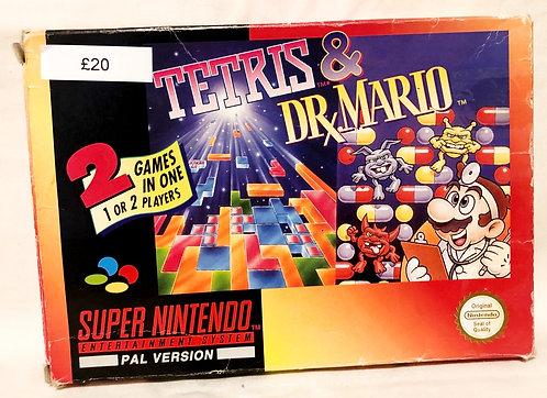 Tetris and Dr. Mario 2 Games in 1 Super Nintendo SNES U.K. (PAL)