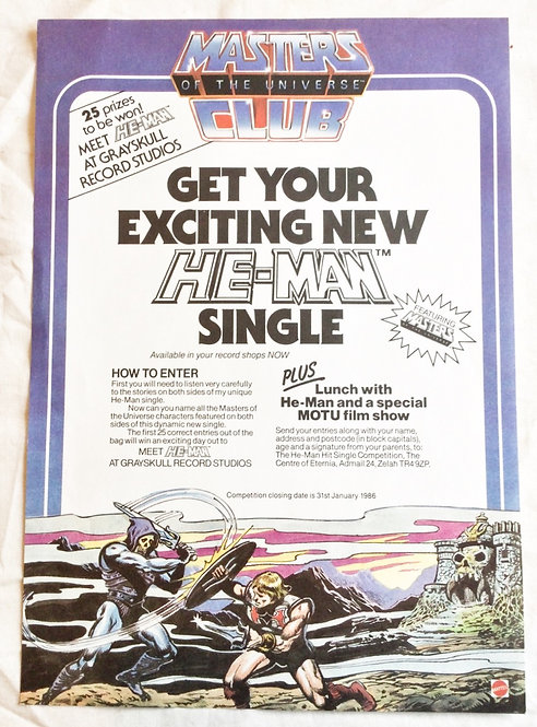 He-Man And The Masters Of The Universe Fan Club Promo Ad Mattel 1986