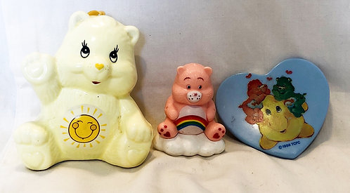 Care Bears Sunshine Bear (China) Cheer Bear Pencil Topper and Mirror Set 1984