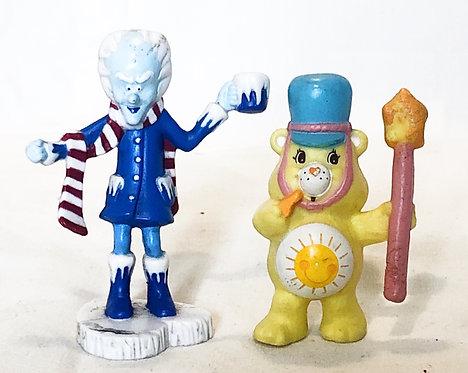 Care Bears Sunshine Bear and Professor Coldheart Small Figures Set 1984