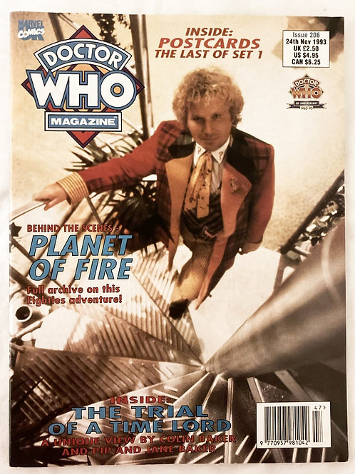 Doctor Who Magazine Issue 206 with Postcards November 1993