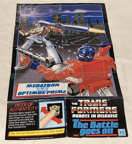 Vintage Transformers G1 Insert Brochere/Poster  Takara 1985
