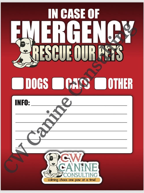 Emergency Window Cling Decal