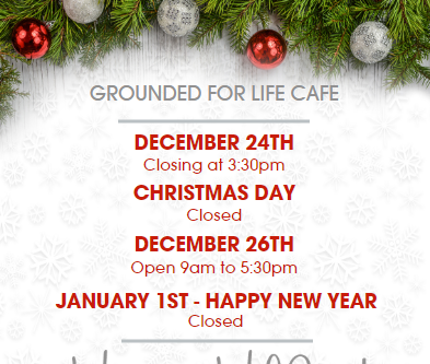 Happy Holidays - Cafe Hours