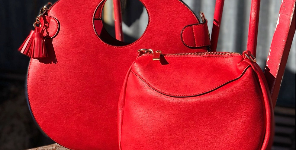 Caroline Retro Circle Bag - Red